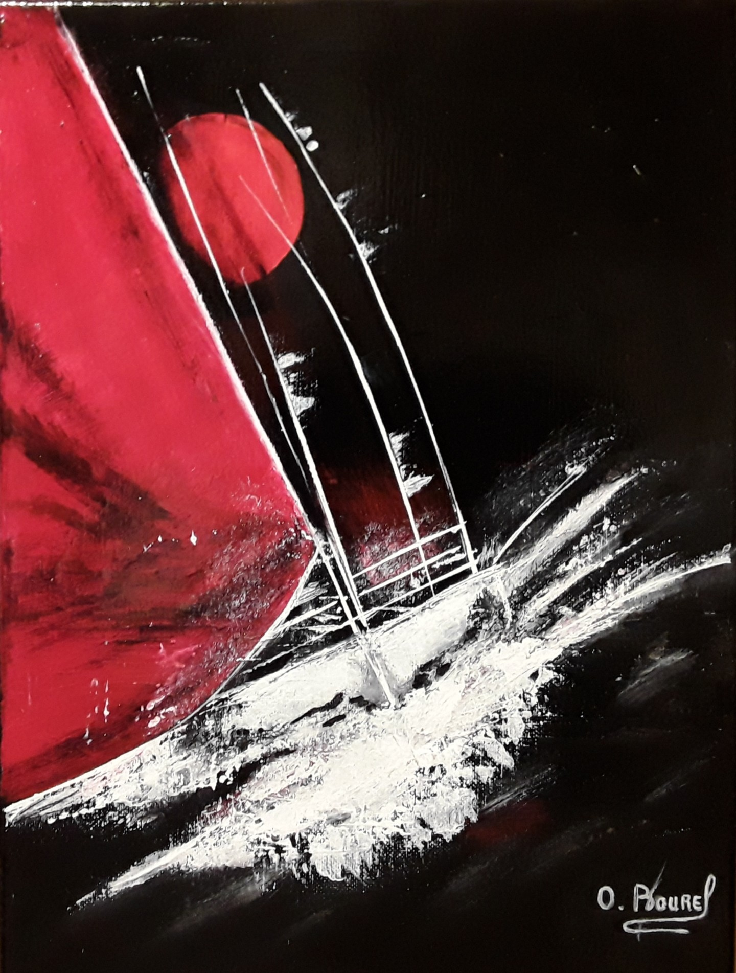 Odile Bourel - Les voiliers rouge et blanc acrylique