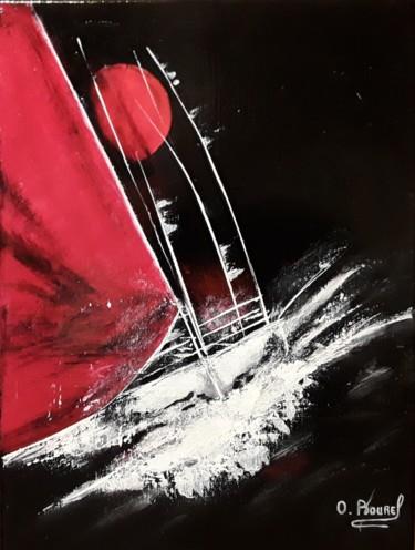 Les voiliers rouge et blanc acrylique